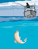 Fisherman Fishing Trout Fish Retro — Stock Vector