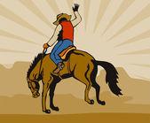Rodeo Cowboy Riding Bucking Bronco Horse — Stock Vector