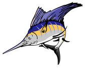 żaglica ryby skoki retro — Wektor stockowy