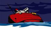 Passenger Ship Cargo Boat Sinking Retro — Stock Vector