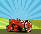 Vintage traktor retro — Stockvektor