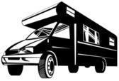 Camper van motor home retro — Vector de stock