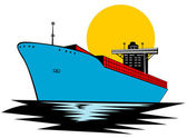 Rétro de bateau cargo porte-conteneurs — Vecteur