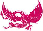 Dragon Retro — Stock Vector