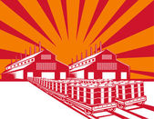 Factory Building Oil Drum Barrel Retro — Stock Vector