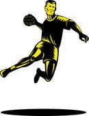 Handball Player Jumping Retro — Stock Vector