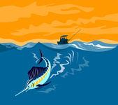 Sailfish Fish Jumping Retro — Stock Vector