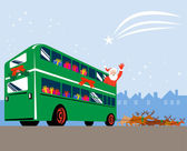 Santa Claus Double Decker Bus — Stock Vector
