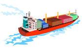 Retro de barco de carga de navio porta-contentores — Vetorial Stock