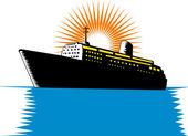 Passageiros navio cargueiro retrô — Vetorial Stock