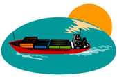 Container Ship Cargo Boat — Stock Vector