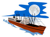 Passenger Ship Cargo Boat Retro — Stock Vector