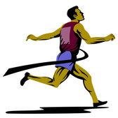 Marathon Runner Athlete Running Finish Line — Stockvector