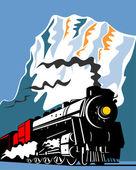 Vintage Steam Train Locomotive Retro — Stock Vector