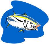 Yellow Fin Tuna Fish Retro — Stock Vector