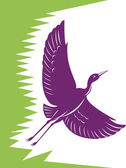 Heron Crane Flying Retro — Stock Vector