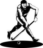 Jogador de hóquei em campo executando com retro vara — Vetorial Stock