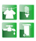 Laundry cf light bulb water faucet rubbish bin icon — Stock Vector