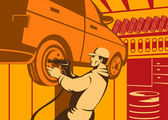 Mechanic Automotive Repairman Retro — Cтоковый вектор
