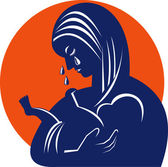 Mother and Child Tears Retro — Vecteur