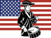 American Patriot Drummer Stars and Stripes Flag — Vettoriale Stock
