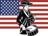 American Patriot Drummer Stars and Stripes Flag — Stok Vektör
