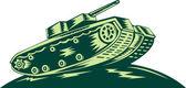 World War Two Battle Tank — Stock Vector
