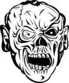 Zombie Schädel Gesicht monster — Stockvektor