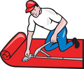 Carpet Layer Fitter Worker Cartoon — Stock Vector