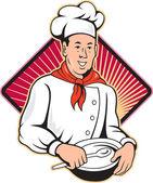 Chef Cook Baker Mixing Bowl Cartoon — Stock Vector