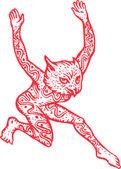 Half Man Half Owl With Tattoos Dancing — Stock Vector
