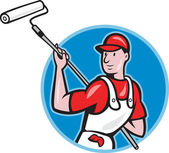 House Painter With Paint Roller Cartoon — Stock Vector