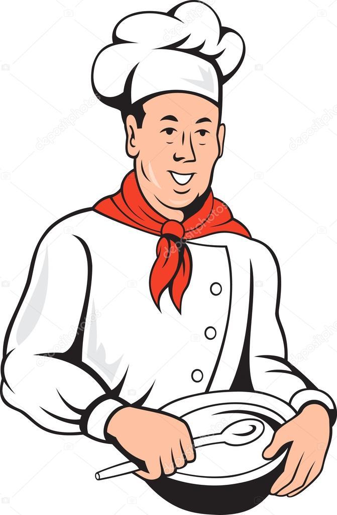 Chef cuisinier boulanger m lange bol dessin anim image for Cuisinier 94 photos