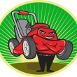 Vector de stock : Lawn Mower Man Cartoon Oval