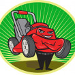 Lawn Mower Man Cartoon Oval — Vector de stock