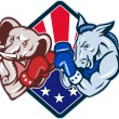 Democrat Donkey Republican Elephant Mascot Boxing - Vektorgrafik