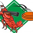Stock Vector: Crayfish Lobster Target Skeet Shooting
