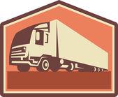 Container truck en trailer vlammen retro — Stockvector