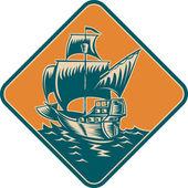 Alto vela barco xilografía retro — Vector de stock