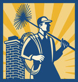 Chimney Sweeper Cleaner Worker Retro — Stock Vector