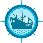 Passenger Ship Cargo Boat Retro — Stock Vector