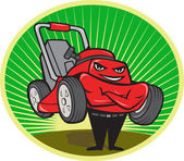 Lawn Mower Man Cartoon Oval — Stock Vector