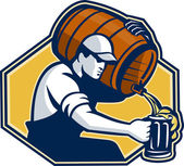 Bartender Worker Pouring Beer From Barrel To Mug — Stock Vector