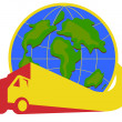 Delivery Truck Lorry Globe Retro — Stock Vector
