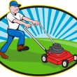 Lawn Mower Man Gardener Cartoon — Vettoriali Stock
