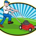 Lawn Mower Man Gardener Cartoon — Stock Vector