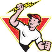 Electrician Construction Worker Cartoon — Stock Vector