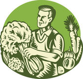 Organic Farmer Green Grocer Vegetable Retro — Stock Vector