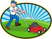 Caricature de jardinier homme tondeuse à gazon — Vecteur