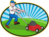 Lawn Mower Man Gardener Cartoon — Stockvector